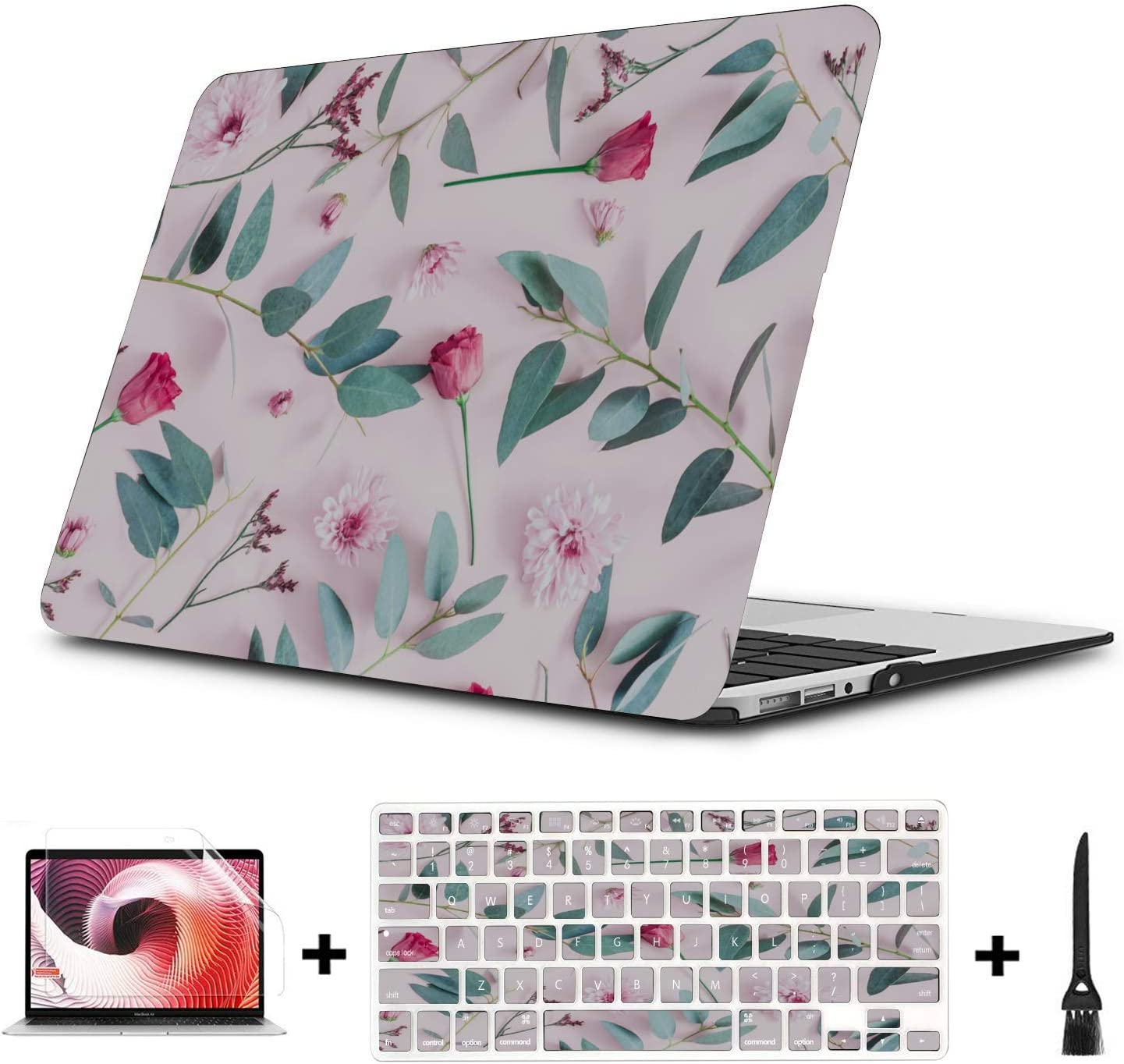 MacBook Protective Case Spring Colorful Beautiful Wild Flowers Plastic Hard Shell Compatible Mac Air 11 Pro 13 15 Case for MacBook Air Protection for MacBook 2016-2019 Version