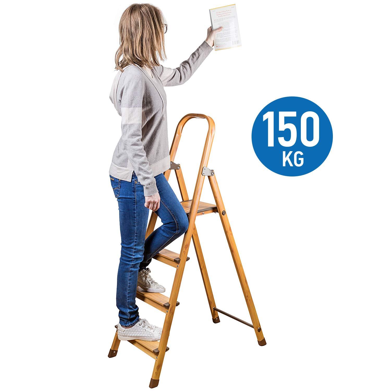 Anti-Rutsch Trittleiter 4 Stufen 16828 Aluminium Tatkraft Upgrade4 Leiter Haushalt Stabil Bis 150 KG Klapptritt Skandinavischer Holz Look PVC