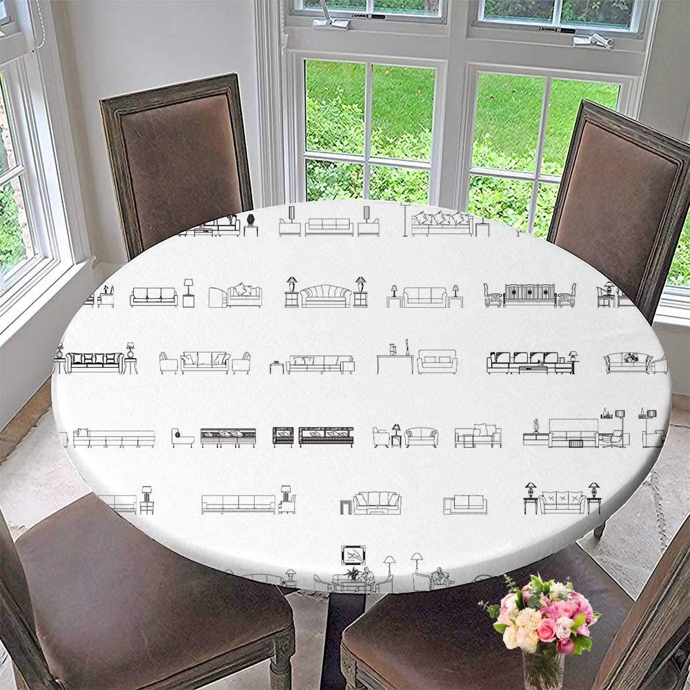 "PINAFORE HOME Round Premium Tablecloth Sofas Furniture Interior Elevation Vector Symbol icon Stain Resistant 35.5""-40"" Round (Elastic Edge)"