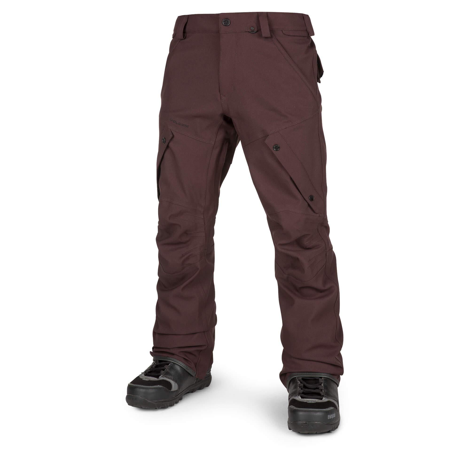 Volcom Men's Articulated Modern Fit Snow Pants, Black/red, Medium