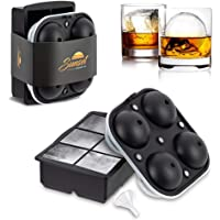 SUNSET Large Silicone Square Ice Cube Tray + Giant Ice Ball Mold with Locking Lid - Set of 2 with Funnel - Ice Moulds…
