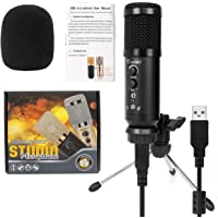 Kmise Portable USB Condenser Microphone Mic MK-F500 Professional with USB OTG Cable Tripod Stand for Vocals, Games, Instrucment Recording Chatting, Straming and Broadcast, Suitable for Laptop PC Moblie Phone MAC Windows Android,IOS, PS4