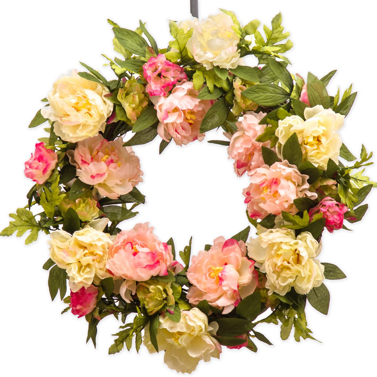 PINK CREAM PEONY WREATH (SW955) - Spring Wreath - Summer Wreath - Everyday Wreath