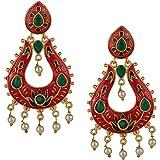 Efulgenz Jewellery Stylish Gold Plated Kundan Meenakari Pearl Drop Fashion Wedding Party Wear Chandbali Danglers Earrings for Women Girls (Colour Options)