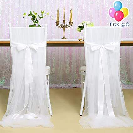 B COOL White 2pcs Tutu Tulle Chair Skirt 100u0026quot;x63u0026quot; Fluffy Chair  Cover