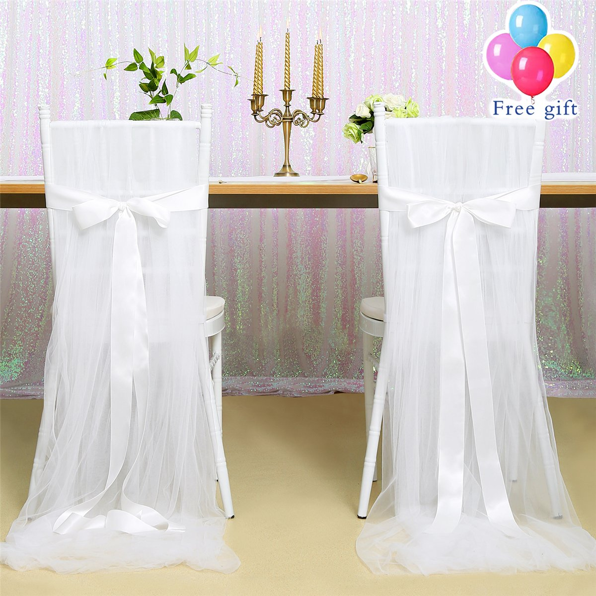 B-COOL White 2pcs Tutu Tulle Chair Skirt 100''x63'' Fluffy Chair Cover Long Tulle High Chair Skirt Slipcovers For Bridal Shower/Home/Party/Outdoor Wedding Decoration