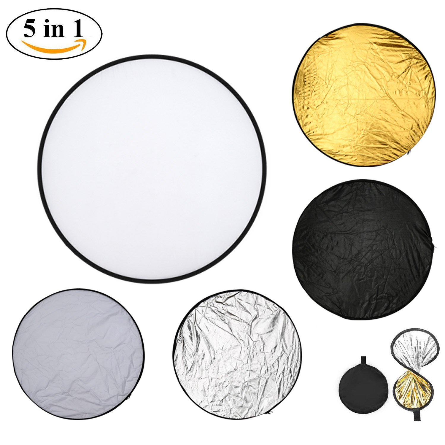 Light Reflector Camera Reflector 43inch 110cm 5-in-1 Portable Collapsible Multi-Disc for Photography Studio Outdoor Lighting with Bag - Translucent, Silver, Gold, White and Black