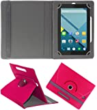 Acm Rotating 360° Leather Flip Case For Micromax Canvas Tab P290 Tablet Cover Stand Dark Pink
