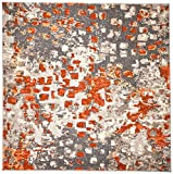 Safavieh Monaco Collection MNC225H Modern Abstract Grey and Orange Area Rug (5′ Square)
