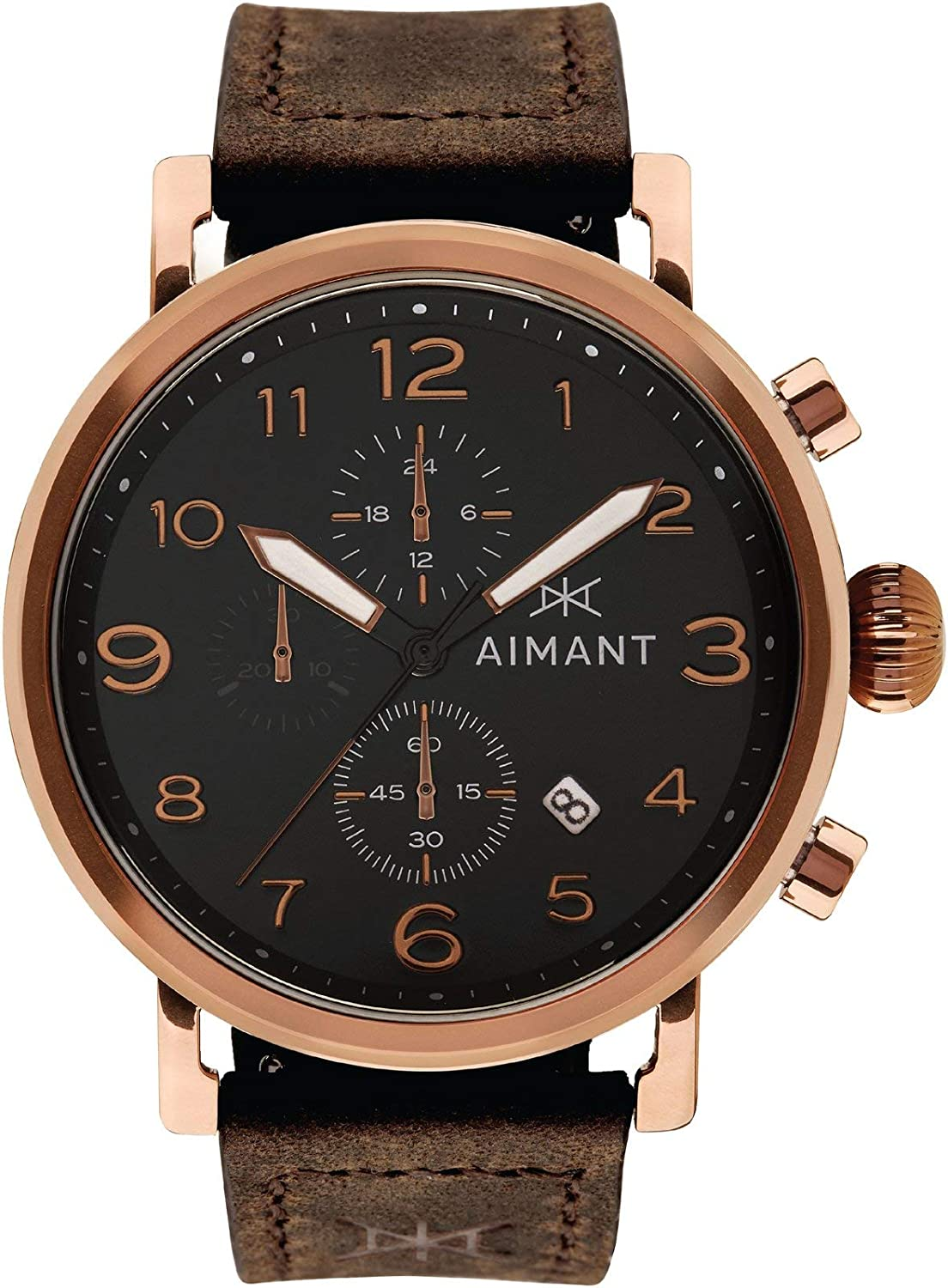 AIMANT Rotterdam Cronograph Watches : 44 MM Men's Analog Watch : Leather