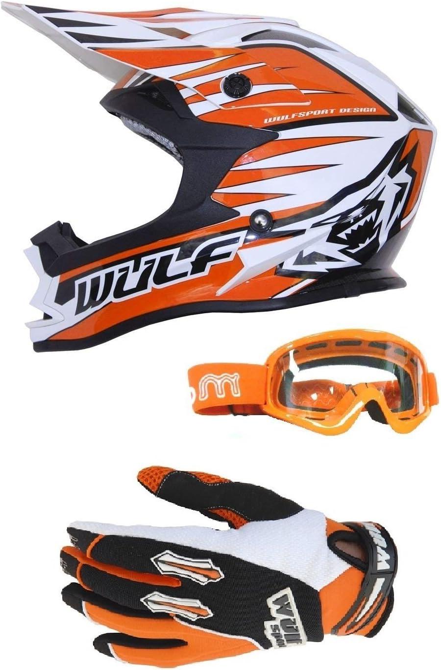 MOTORBIKE WULFSPORT ADVANCE ADULT MX OFF ROAD HELMET Motorbike Motocross Quad ATV Enduro PIT Sport WUlf Stratos Gloves Moto X1 Goggles