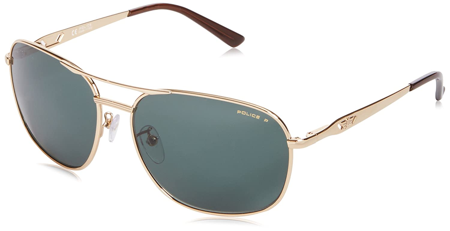 Police - Gafas de sol Aviador S8846 VOLTAGE 1, Shiny Gold ...