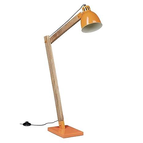 Relaxdays Lámpara de pie, Diseño vintage, Escandinavo, Madera, Elegante, Naranja, 111 cm