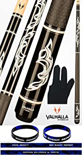 product image for Valhalla VA485 by Viking 2 Piece Pool Cue Stick, Rubber Sport Wrap Monochromatic Graphic Transfers White & Silver Rings High Impact Ferrule, 18-21 oz. Plus Billiard Glove & Bracelet