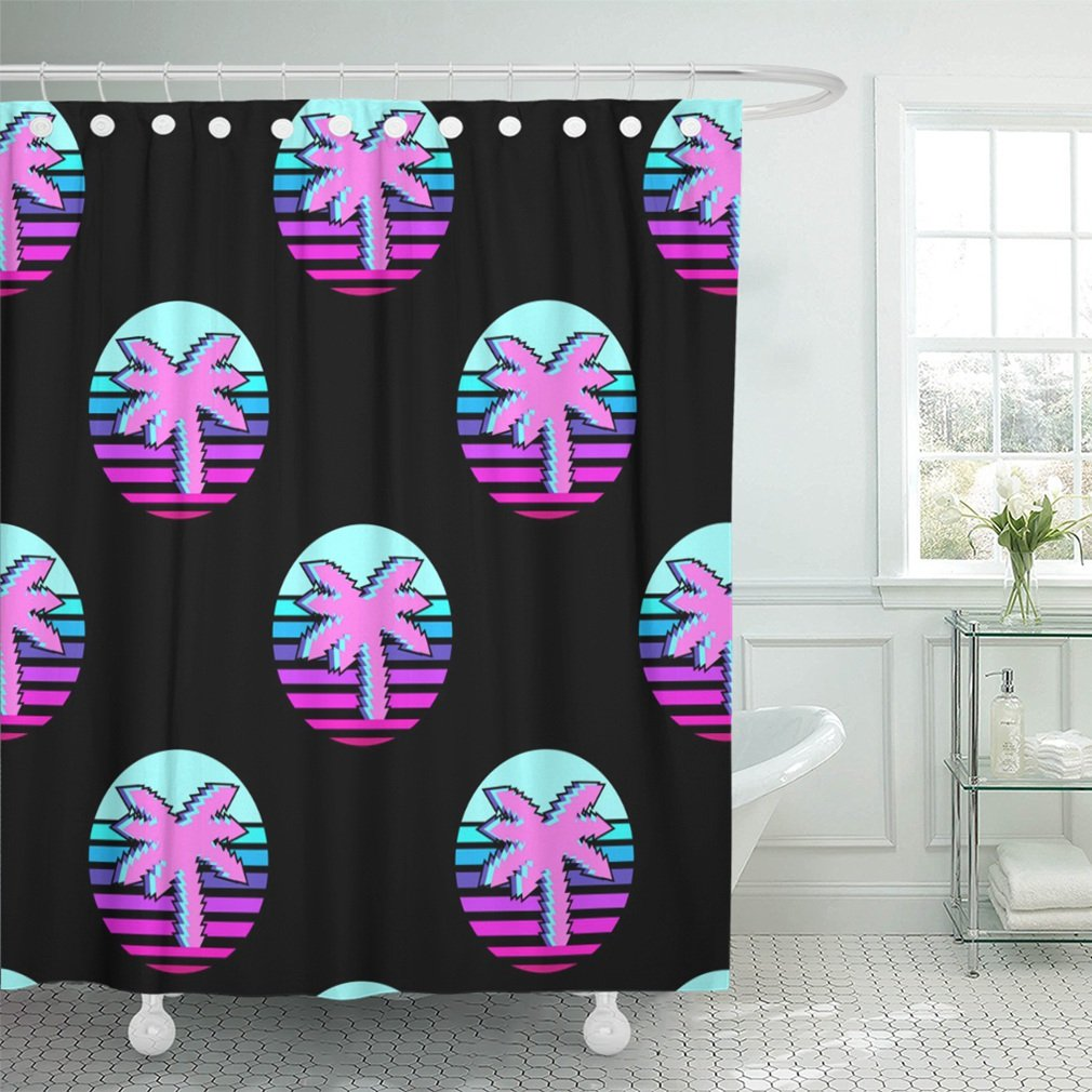 Emvency 72x72 Shower Curtain Waterproof Colorful Neon Vaporwave With Patches Stickers Badges Pins Palms Black Pink 80s Home Decor Polyester Fabric