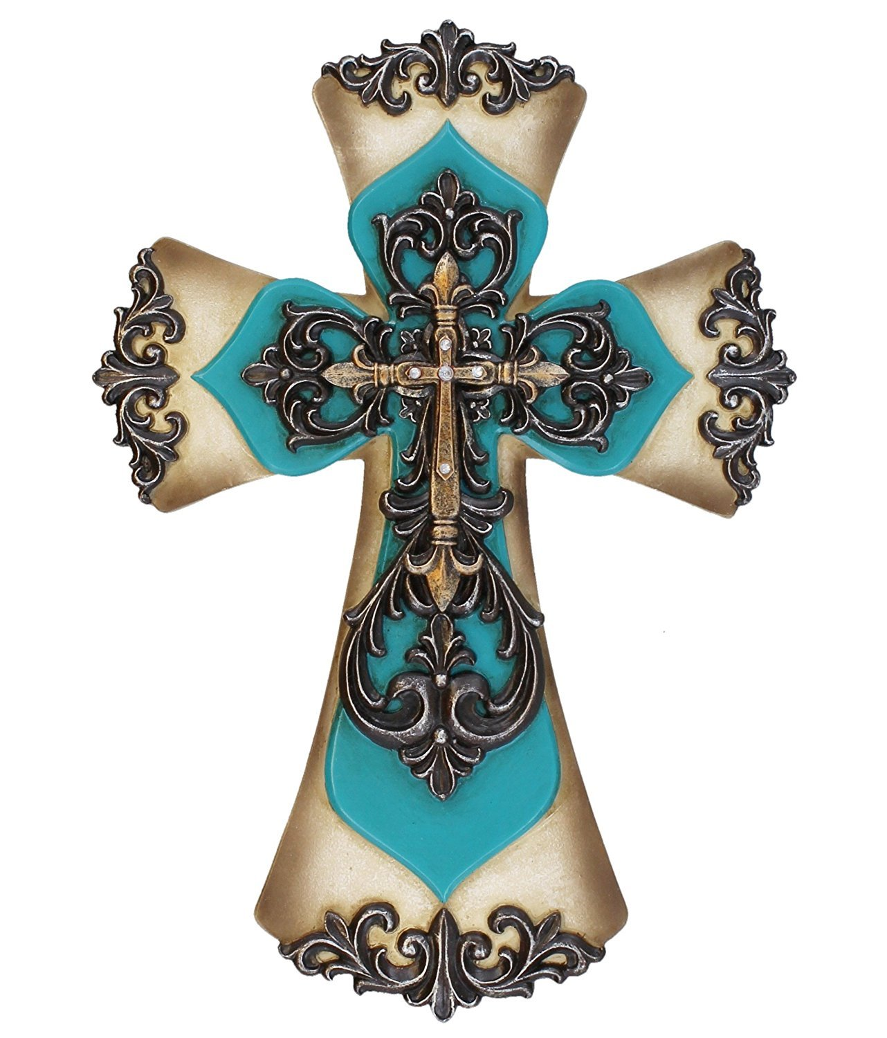Old River Decorative Layered Teal Tuscan Wall Cross Scrolly Fleur De Lis Old River Outdoors
