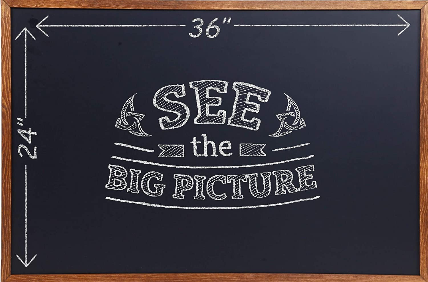 Wood Framed Chalkboard - Large Premium Magnetic 36 x 24 Rustic Chalk Board, Great with Regular or Liquid Chalk Markers, Nonporous Wall Hanging Blackboard Sign Besso Boards