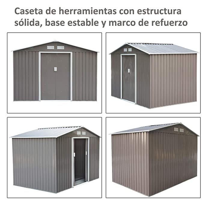 Outsunny Caseta de Jardín Tipo Cobertizo Metálico para Almacenamiento de Herramientas 277x191x192cm Acero 3 Colores Opcionales: Amazon.es: Jardín