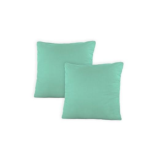 SHC Doble Pack Fundas de Almohada, Jersey Almohada, Funda de cojín, Almohada con Cremallera de algodón 100%, 100% algodón, Grayed Jade/Mint, 50 x 50 ...