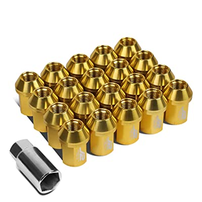 J2 Engineering LN-T7-006-15-GD Gold 7075 Aluminum M12X1.5 20Pcs L: 35mm Close End Lug Nut w/Socket Adapter: Automotive