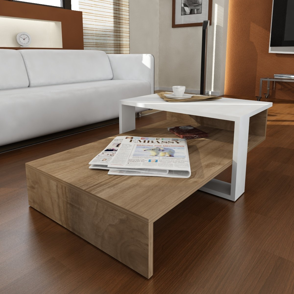 LaModaHome Modern Coffee Table, White-Brown Wooden Appearance - Cocktail Table with Storage, Multi Functional, Resistant - Best Choice for Home, Office, Living Room and More
