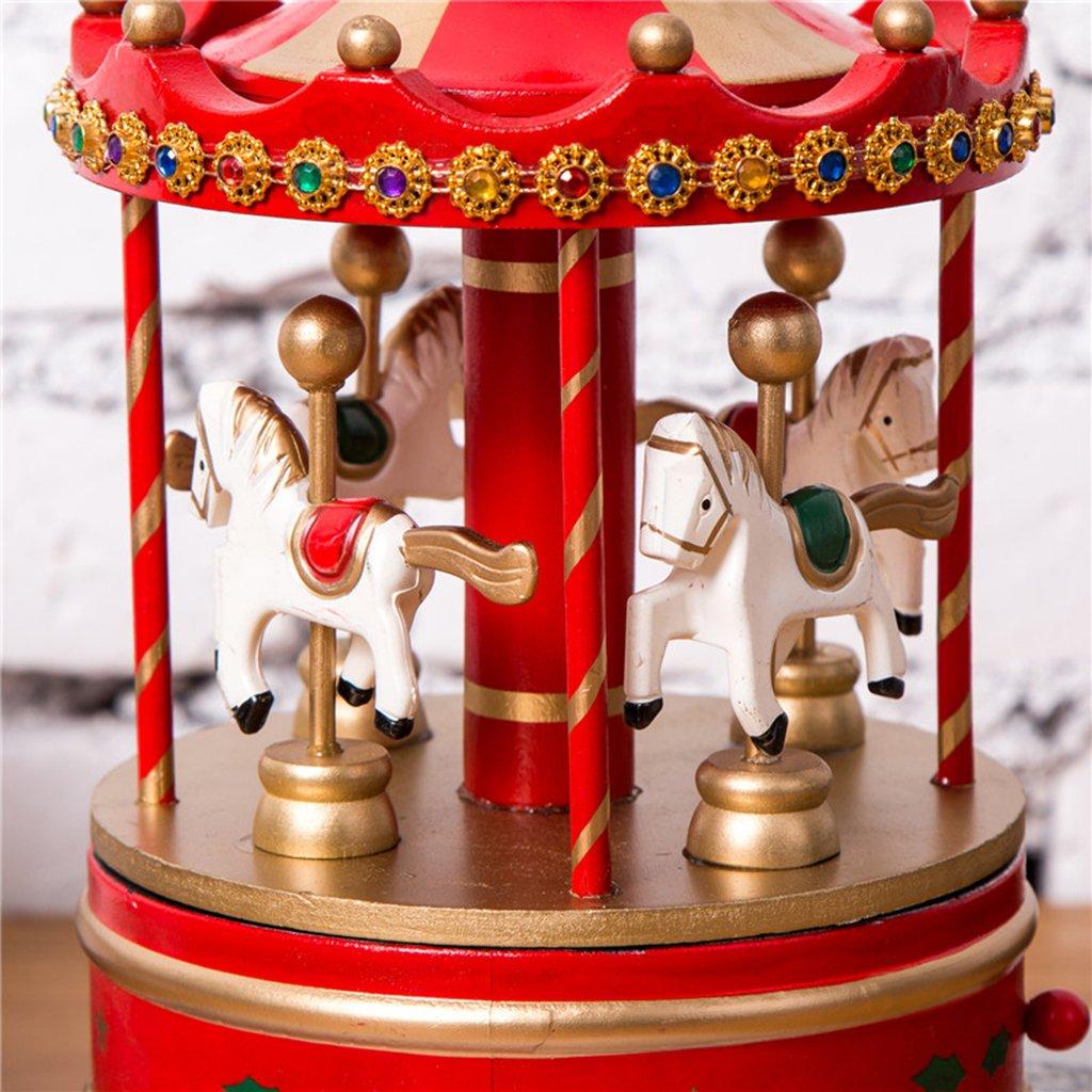 MagiDeal Scatola Musica Carosello Vento Albero Natale Decorazione Ornamento Salotto Casa Regalo Amici Legno Rosso