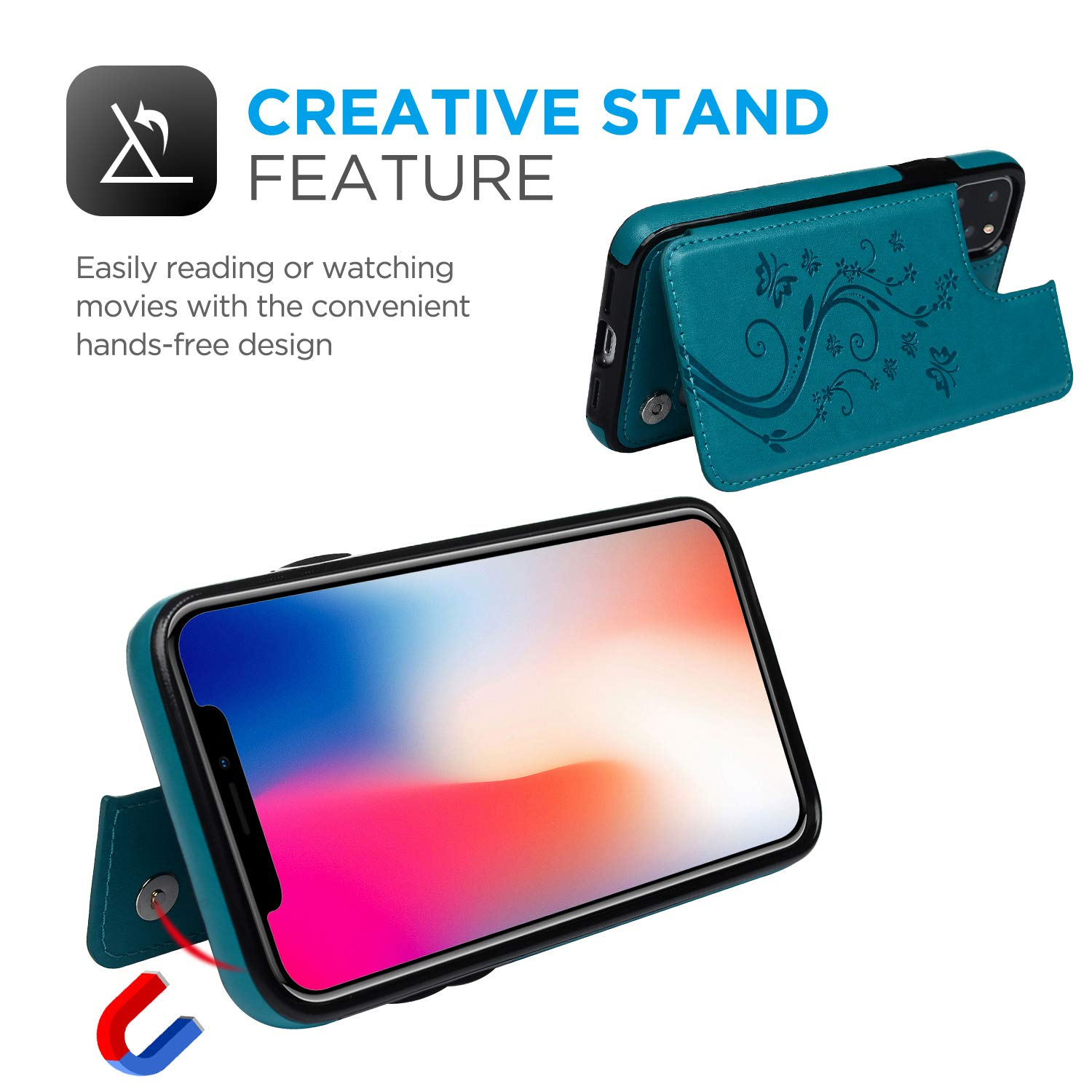 iPhone 11 Pro Wallet Case, Case with Card Holder Embossed Butterfly Premium PU Leather Double Magnetic Buttons Flip Shockproof Protective Cover for iPhone 11 5.8 inch, Blue
