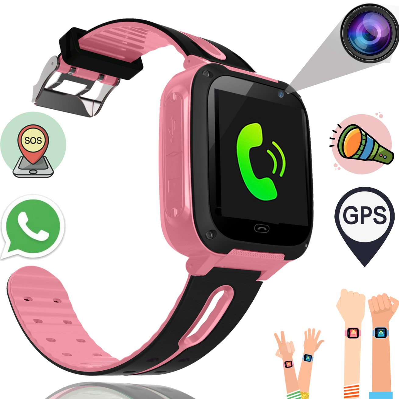 Smart Watch for Kids GPS Tracker Best Phone Watch Birthday Toys Gifts for Boys Girls 3-14 Years With Camera SOS Parents Remote App for iPhone Android Smartphone for Children Electronic Learni (S4pink)