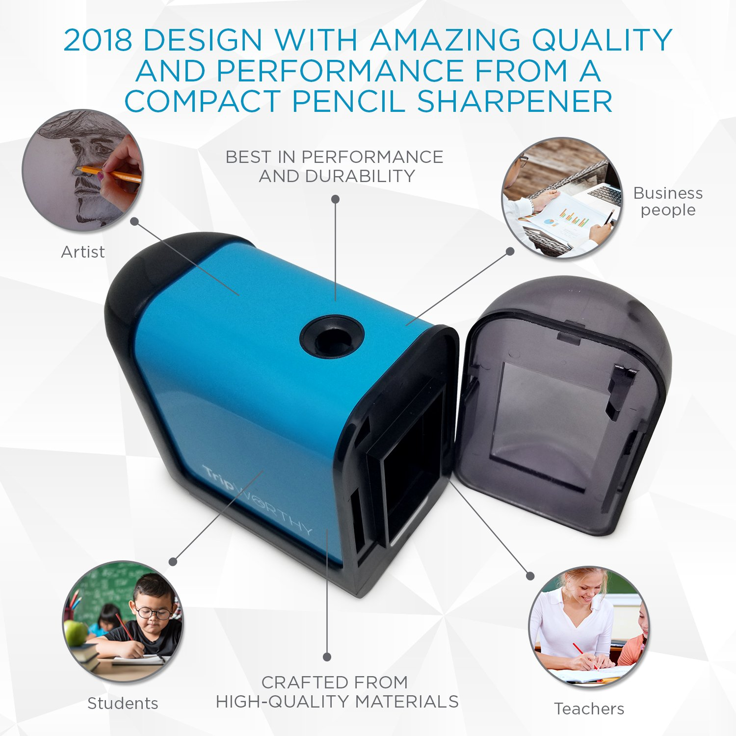 and Professionals 2 and Colored Pencils - Small and Durable Drawing, Coloring Electric Pencil Sharpener Artist No Cord Battery Operated Students Kid Friendly - Ideal For No