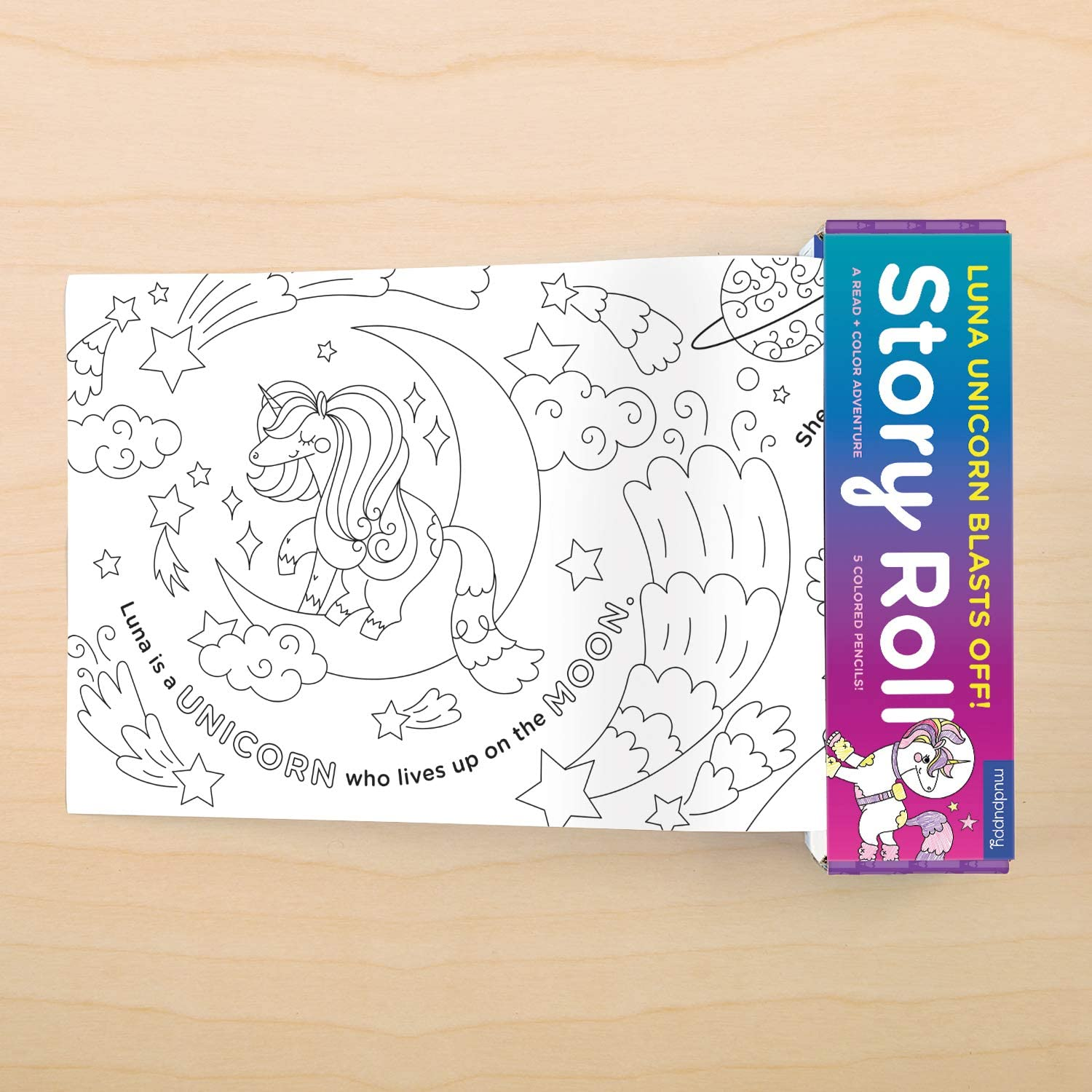 Continuous Story and Unicorn Coloring Paper Roll Measuring 8 Feet A Read /& Color Adventure for Kids 4+ Multicolor 5 Colored Pencils Included Mudpuppy Luna Unicorn Blasts Off Story Roll