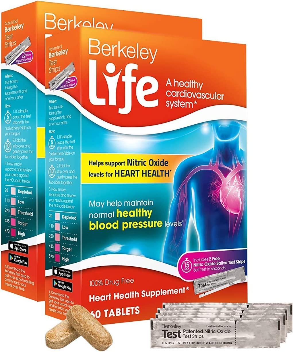 Berkeley Life Nitric Oxide Boost #1 Blood Pressure Support Supplement Pomegranate Extract & Beet Root Capsules for High Blood Pressure Support Healthy Blood Flow Heart Health Supplement - 120 Ct
