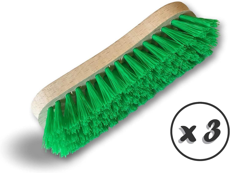 limpieza KIBROS 1015Vcx3 Montura de madera cepillado puente pared suelo baldosas ba/ños Cocinas Juego de 3 cepillos de lavado y recogedor PPL verde