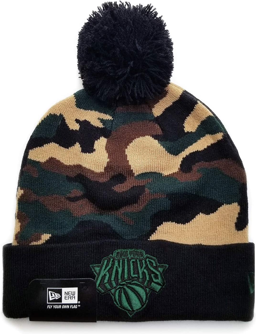 New Era NBA NY New York Knicks Camo Cam Pom Top Stretch Knit Beanie Black Hat