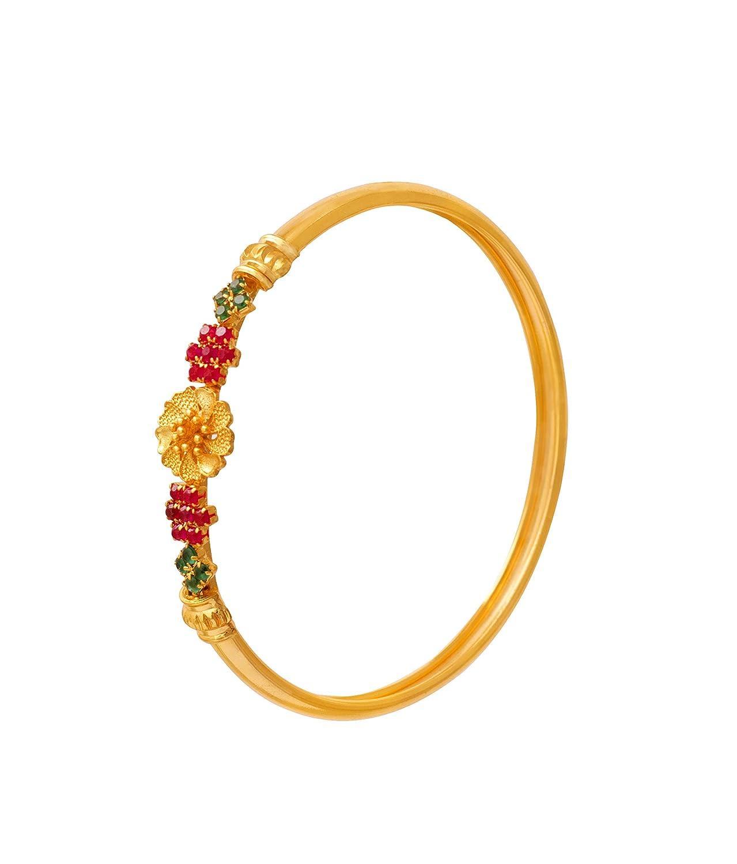 04927b7effe JFL - Modern Ethnic Green Pink Stone One Gram Gold Plated Designer Bangle  Kada for Girls and Women