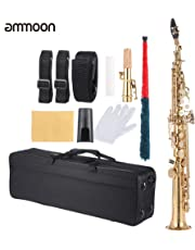 ammoon Brass Straight Soprano Sax Saxophone Bb B Flat Woodwind Instrument Natural Shell Key Carve Pattern with Carrying Case Gloves Cleaning Cloth Straps Grease Cleaning Rod