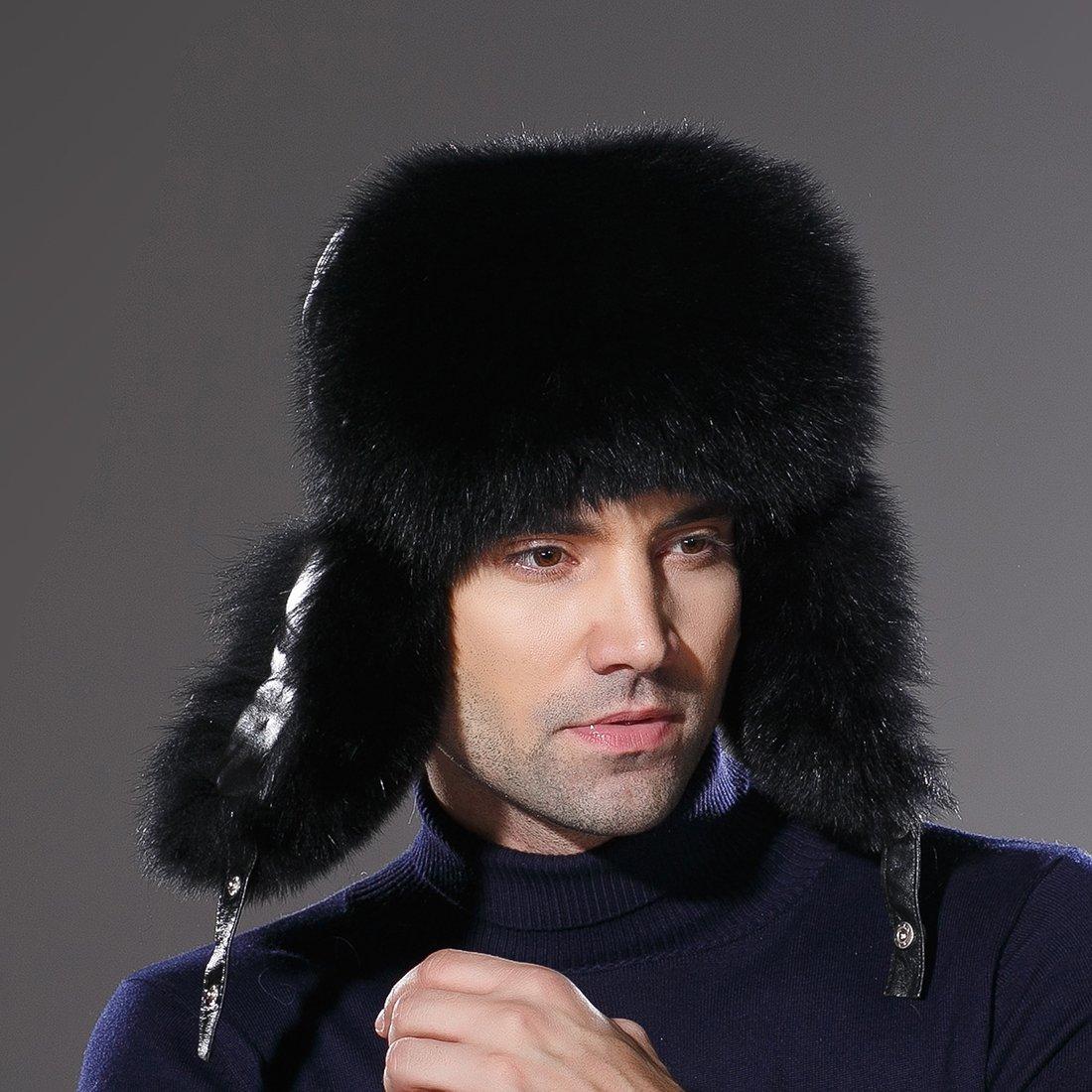 URSFUR Winter Russian Fur Hat Mens Real Fox Fur Ushanka Trapper Cap Black by URSFUR (Image #3)