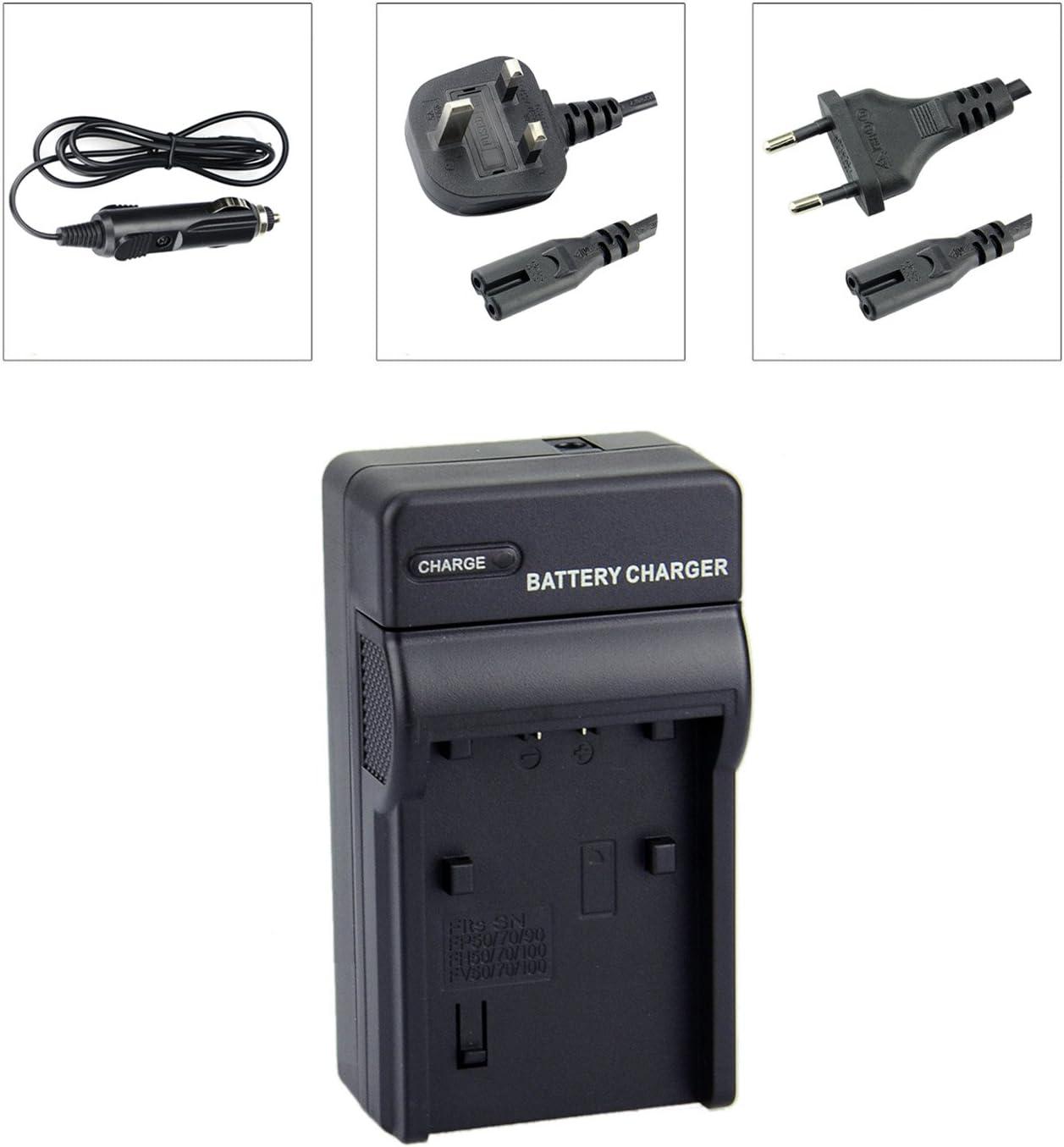 DSTE Chargeurs de Batteries Compatible pour Sony NP-FP50 NP-FP70 NP-FP90 NP-FP71 NP-FP91 NP-FP51D NP-FP71D NP-FP91D NP-FH50 NP-FV50 Battery