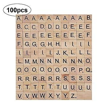 100Pcs Wooden Alphabet Scrabble Tiles Scrapbooking Handcraft Letter Kit