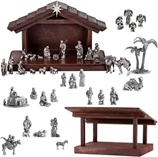 product image for DANFORTH - Complete Nativity Collection Set - Pewter - Handcrafted - Wooden Creche - Made in USA
