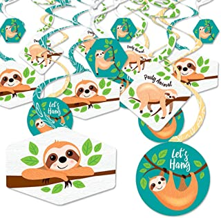 product image for Let's Hang - Sloth - Baby Shower or Birthday Party Hanging Decor - Party Decoration Swirls - Set of 40
