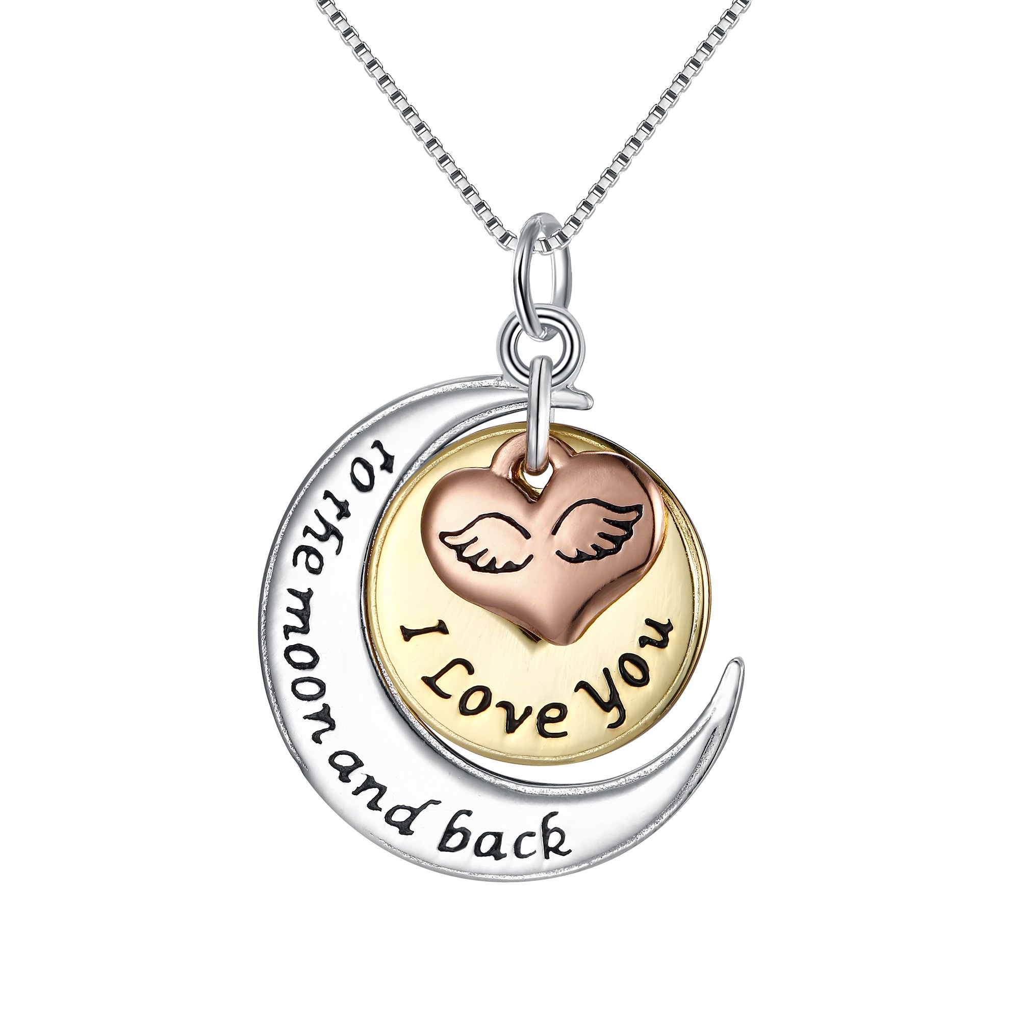FANZE Women 925 Sterling Silver ''I Love You To The Moon And Back'' Star and Moon Angel's Wings Love Heart Pendant Necklace, Box Chain 18''