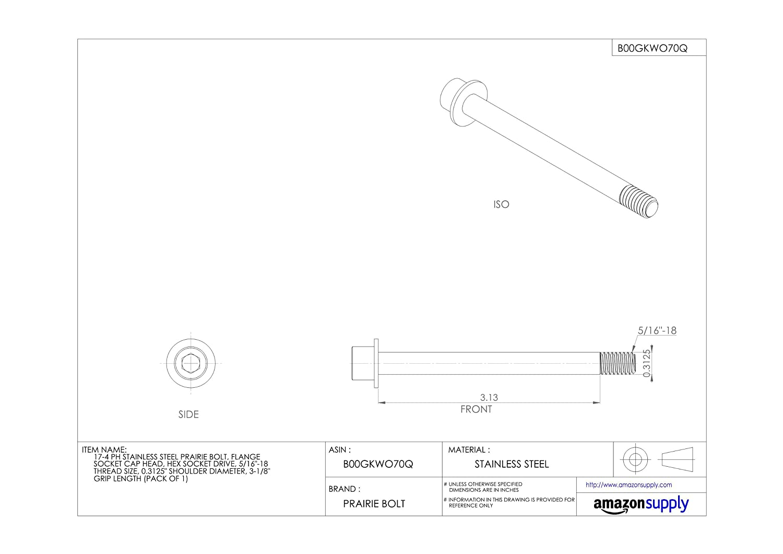 17-4 PH Stainless Steel Prairie Bolt Flange Socket Cap Head 0.3125 Shoulder Diameter 5//16-18 Thread Size 3-1//8 Grip Length Pack of 1 Hex Socket Drive 5//16-18 Thread Size 0.3125 Shoulder Diameter 3-1//8 Grip Length Made in US Plain Finish