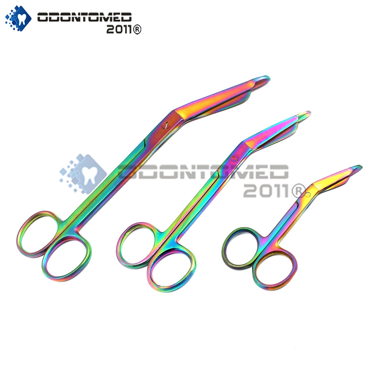 OdontoMed2011® Titanium Galaxy Rainbow 3 Pc - 3.5'', 5.5'' And 7.5'' Ultimate Ems Bandage Lister Scissor Ideal For Nurses, Emt, Medic Students, Firefighter, Fisherman, Hobbiest And Taxidermy ODM