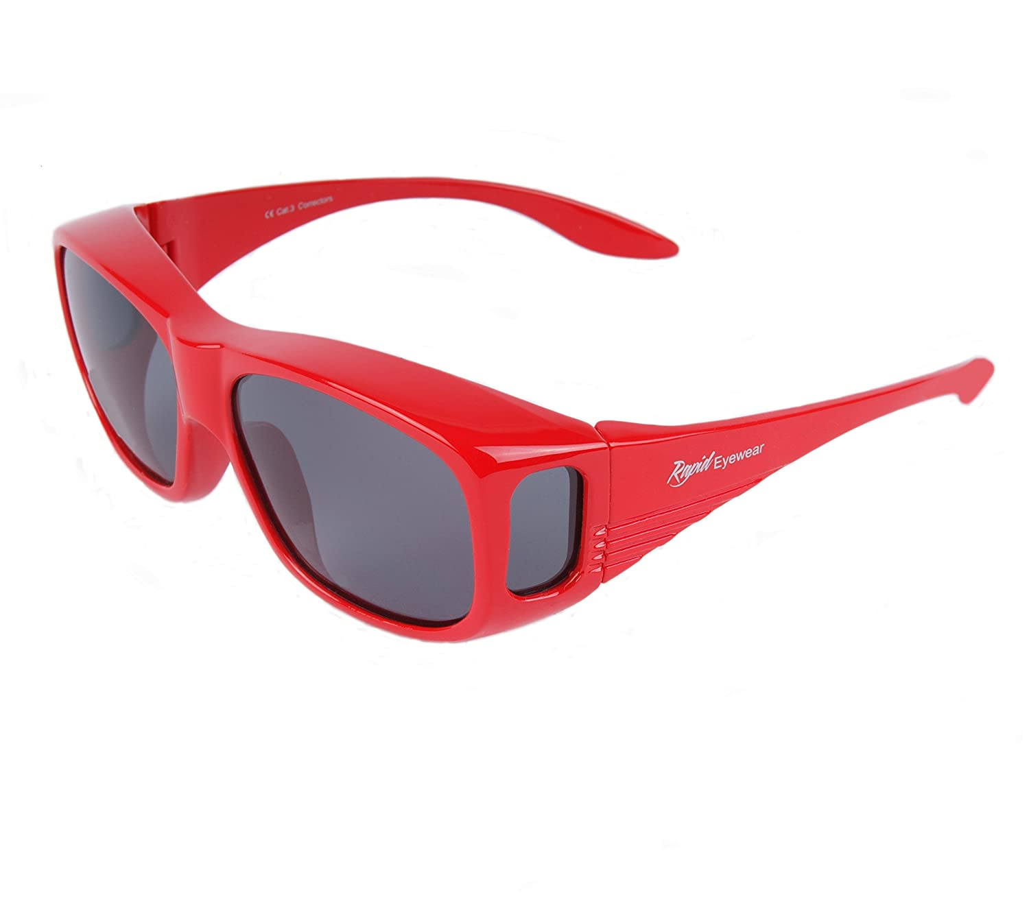 5c99cd42c78 Rapid Eyewear Polarized UV Overglasses. Mens and Womens Red Sunglasses That Fit  Over Glasses for Driving