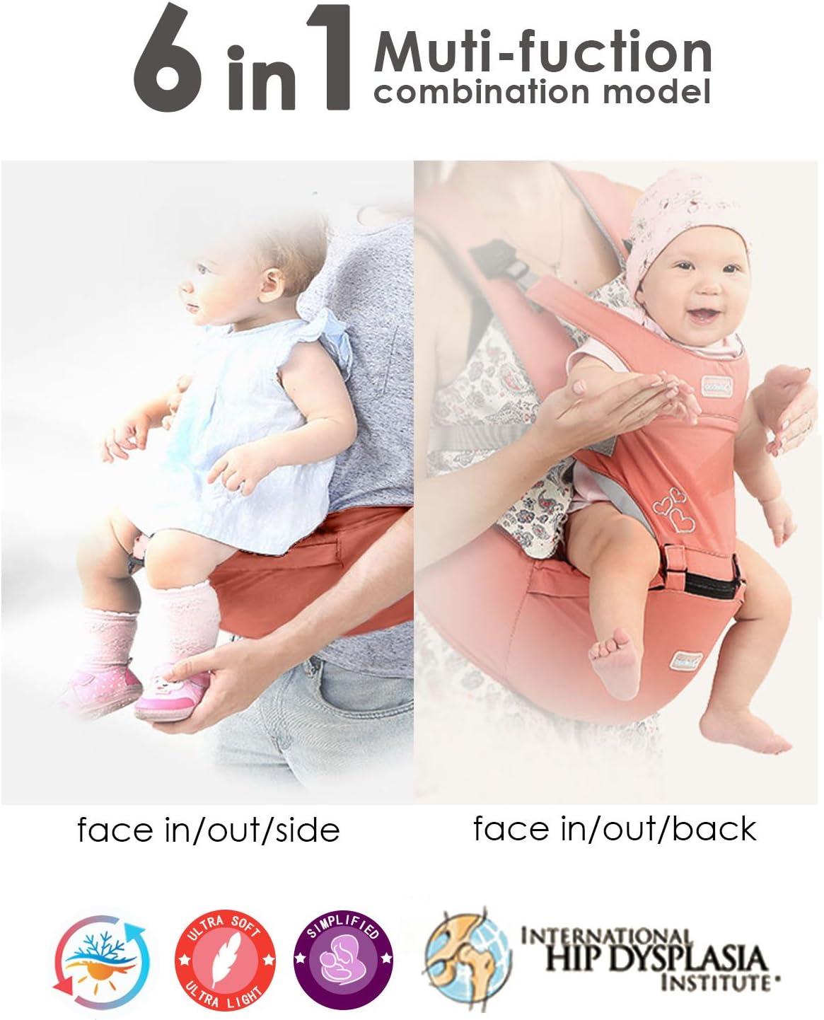 SONARIN Front Premium Hipseat Mochilas portabeb/é,Portador de Beb/é,Multifuncional,Ergon/ómico,hebilla giratoria de mariposa,seguro y c/ómodo,adaptado al crecimiento de su hijo,regalo ideal Gris