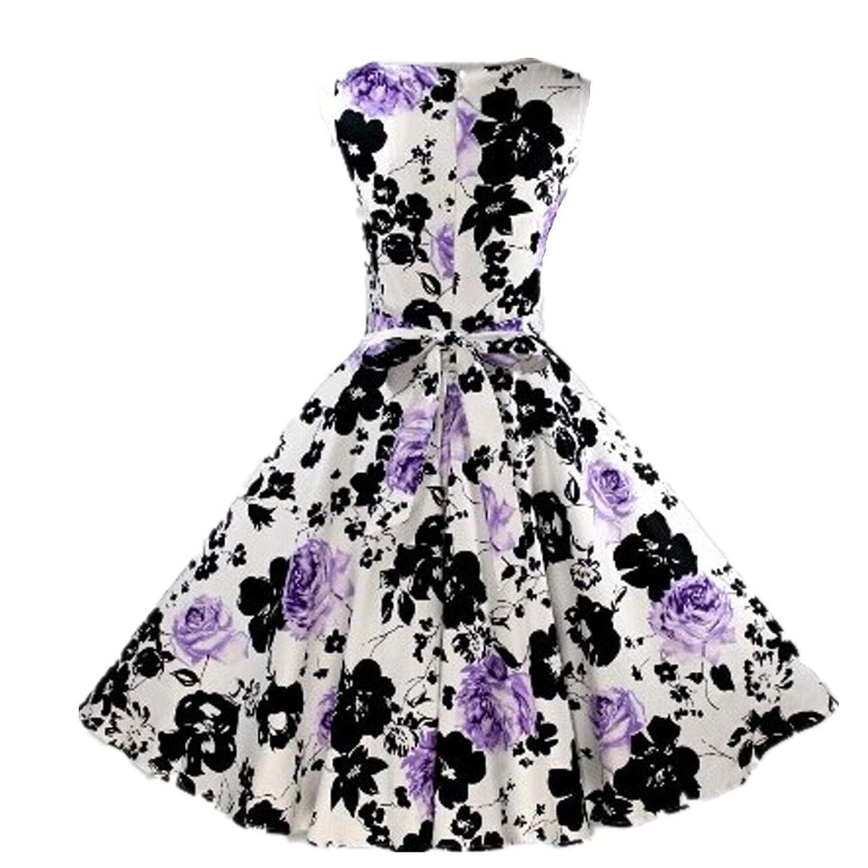 LOBTY Damen Kleider Dress 50er Jahre Vintage-Kleid Hepburn Rockabilly Knielang Kleid mit Blumen Retro Audrey Rock