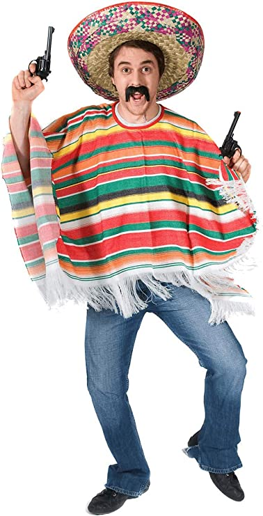 KIDS MEXICAN PONCHO AND SOMBRERO WILD WESTERN COSTUME CHILDS FANCY DRESS OUTFIT