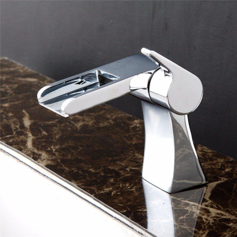 IJIAHOMIE Waschtischarmatur Badarmatur Wasserhahn Bad,Wassersparfunktion,Wasserfall Wasserhahn, Silbernes keramisches Ventil des Heißen und Kalten Wassers