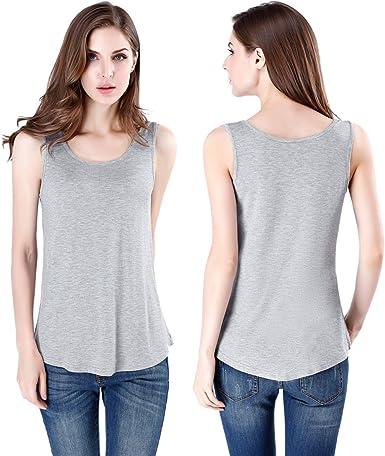 wirarpa Mujer Camiseta Tirantes Sin Mangas Casual Camisola Tops Fitness Elástica Microfibra Gris Pack de 2 XL: Amazon.es: Ropa y accesorios