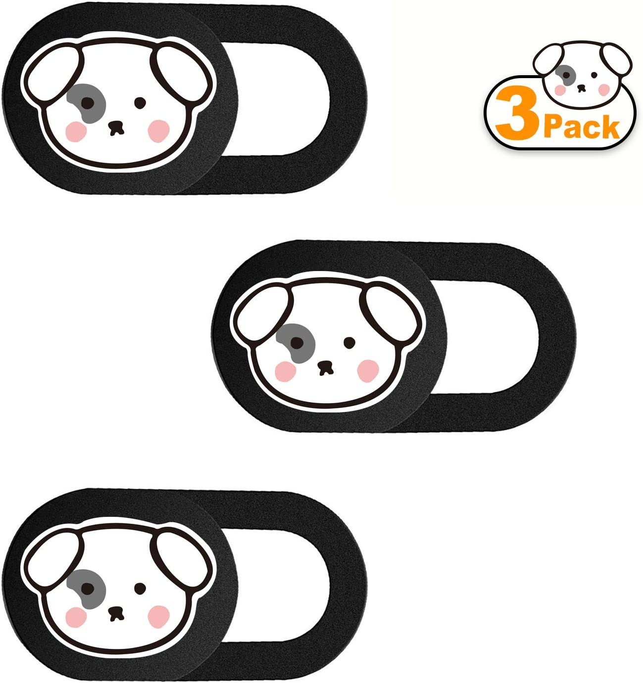 SIREG Webcam Cover Slide Ultra Thin - Cute Animal Web Camera Cover fits Laptop,Tablet,MacBook Pro,Mac Mini, Computer, Smartphone,Protect Your Privacy and Security,Strong Adhesive (Back-Dog)